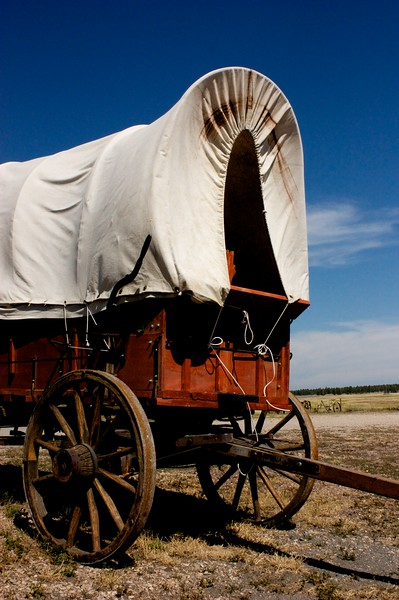 Covered wagon near Upton, WY