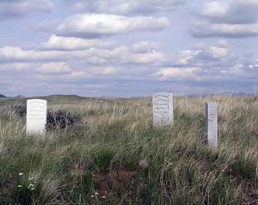 Custer's Last Stand: granite markers show where soldiers fell in the 1876 Battle of the Little Bighorn near what is now Crow Agency, Montana.