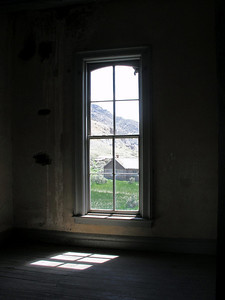 View of Bannack, Montana, from inside the Hotel Meade.