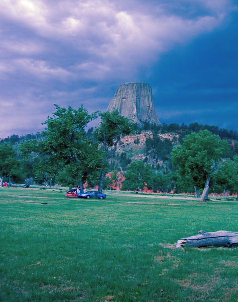 "A storm blows by a campground below Devil's Tower, Wyoming.  No saucers in sight at this setting for the movie ""Close Encounters of the Third Kind."""