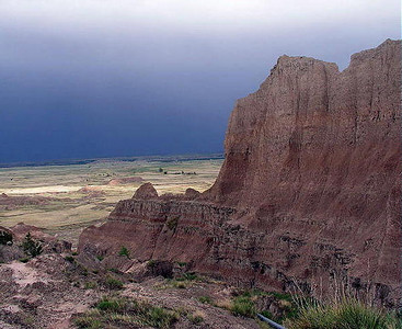 A storm approaches the Badlands, South Dakota.