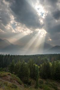 Sun through Clouds Glacier National Park