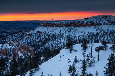 Sunrise on an overcast morning in Bryce Canyon, Utah.