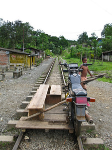 The only way to get to San Cipriano...you pay some dude to take you on a motorcycle for 15 minutes through the rain forest on these tracks