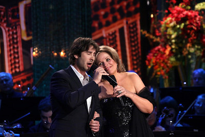 NEW YORK, NY - APRIL 06:  Soprano Renee Fleming (R) performs along with singer, songwriter and actor Josh Groban and the Orpheus Chamber Orchestra on stage as part of