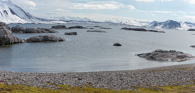 AN ARCTIC PANORAMA.  Spitsbergen, Arctic Ocean, north of Norway.