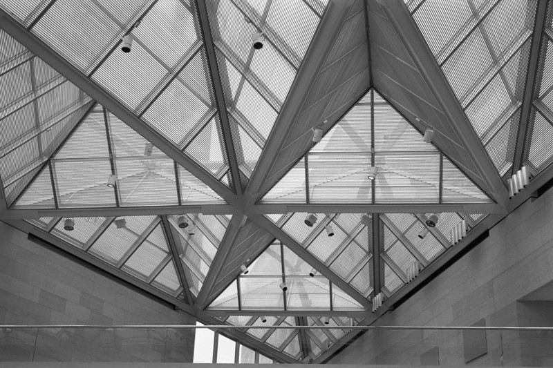 <b>Angled Ceiling</b> - It's clear that a great deal of work went into the design of the ceiling for the West Wing of the Smithsonian Museum of Art.