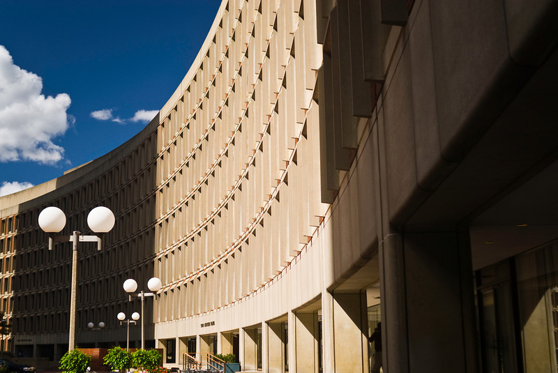 <b>Center Plaza</b> - People complain about the architecture around Government Center in Boston, but I think the concrete, angular design has a nice and distinct feel to it.