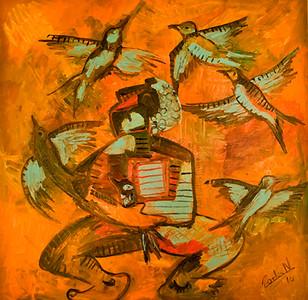 7. M'ss Vale Pájaro en Mano (46x46, Acrylic, $1100)