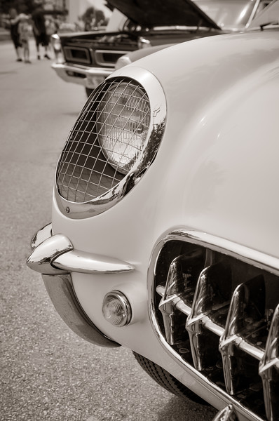 54 Corvette Headlight & Grill - Slight Sepia (1 of 1)