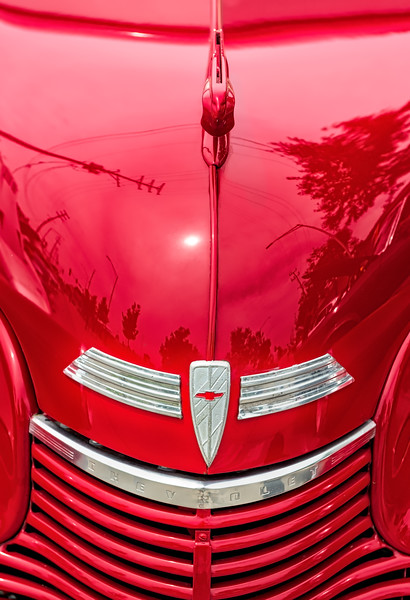 Red Chevy - Grill & Hood Ornament - Closer (1 of 1)