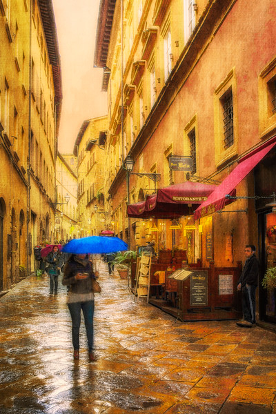Blue Umbrella - Volterra, Tuscany, Italy - Wide