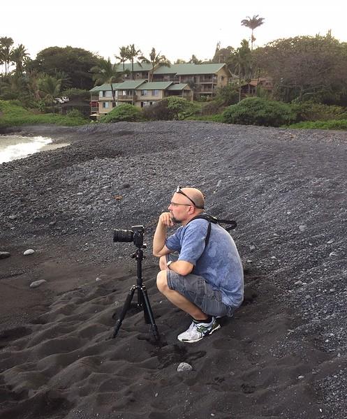 Black sand beach in Hana, Maui.
