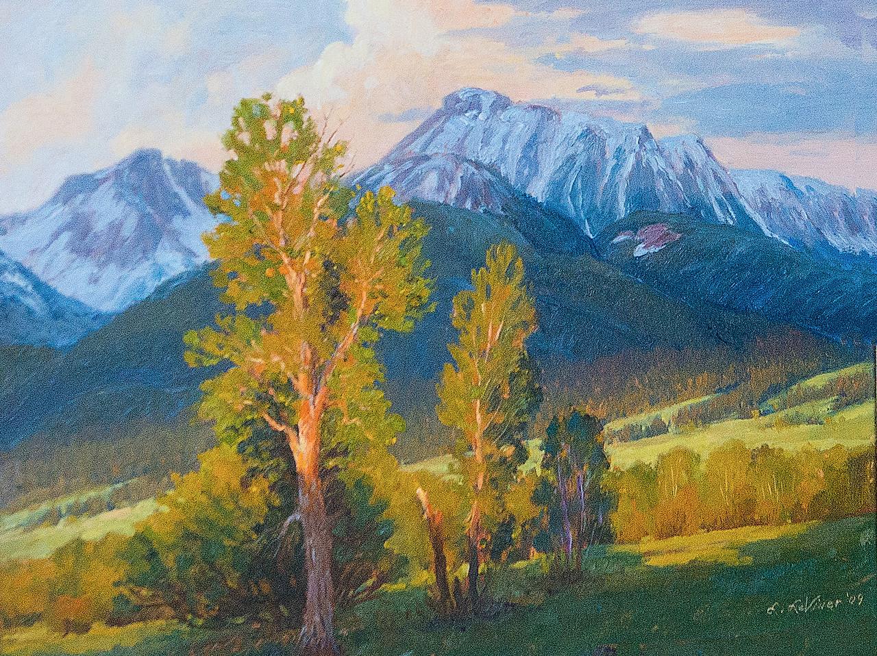 Leslie Leviner's En Plein Air oil painting captures fleeting morning light on Ruby Peak.
