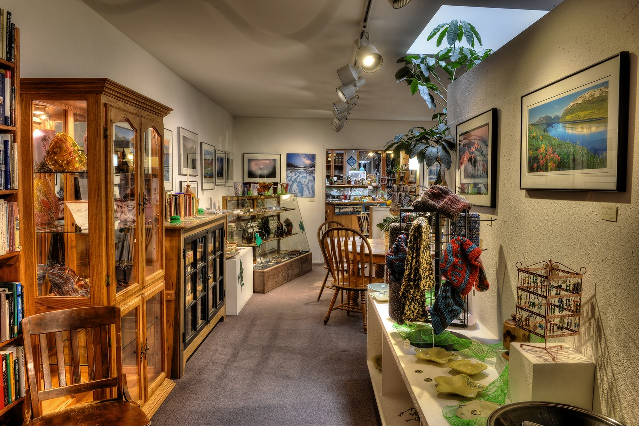 Ted Juve's pottery and David Jensen's photographs, along with fabric artists and jewlery-makers, occupy the Skylight Gallery.  The  Gallery, on Main Street in Enterprise, is part of the Bookloft bookstore, and was the first art gallery in Wallowa County.