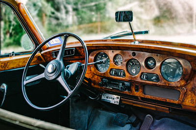 The wood dash of a 1960 Bentley.