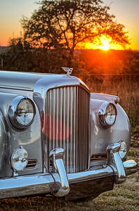 1960 Bentley grill at sunset.