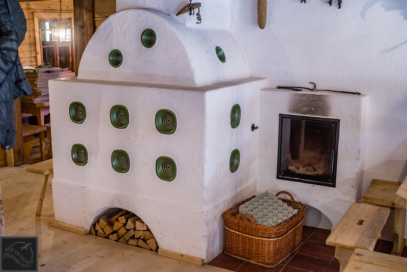 Ceramic oven in Proller Alm restaurant, Austria.