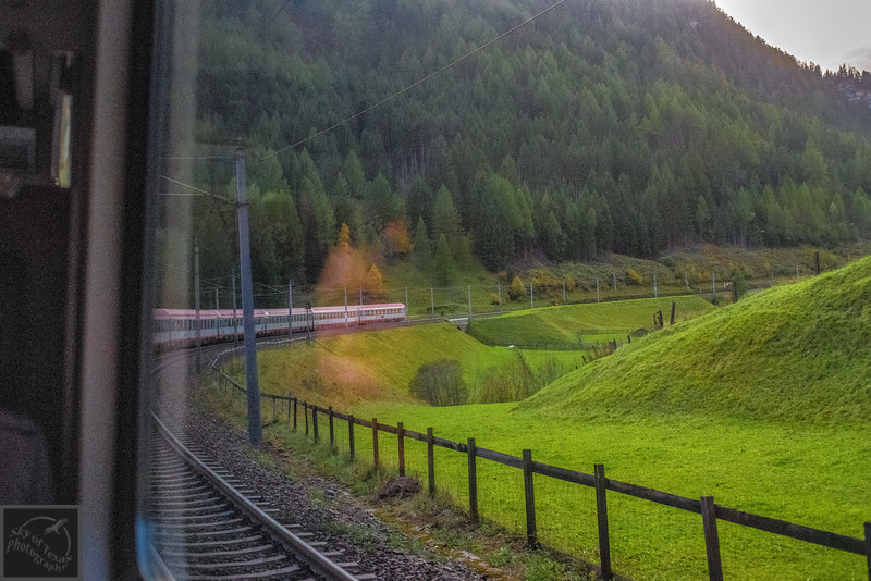 Train through the Tyrol Alps.