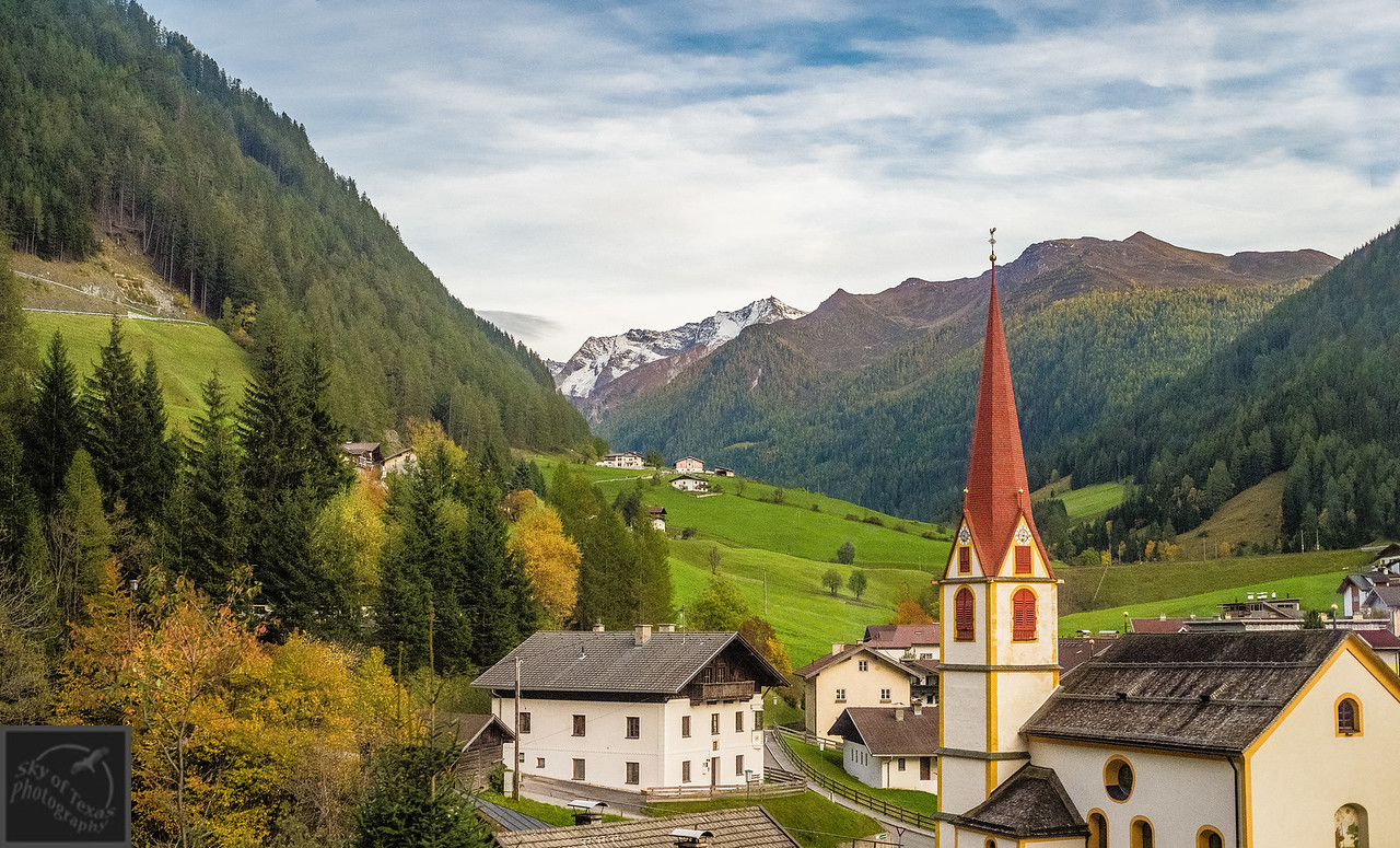 Austrian village in the Tirol Alps viewed from the train.