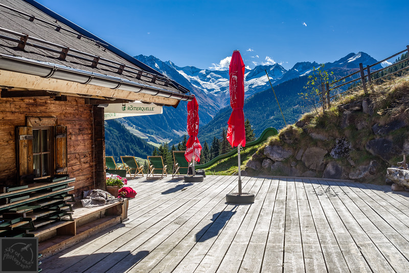Patio of Proller Alm restaurant in Austria.