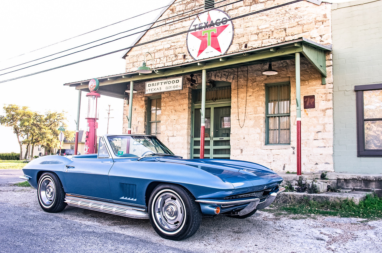 1967 Corvette passing through Driftwood, Texas.