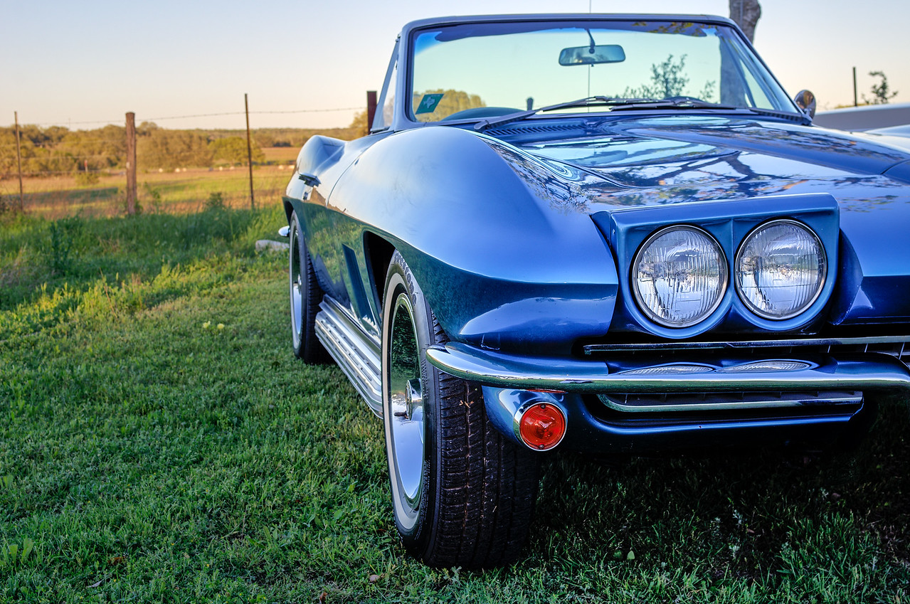 Three quarters view of 1967 Corvette Sting Ray convertible.