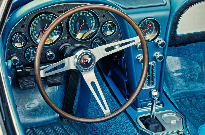 The cockpit of a 1967 Corvette.