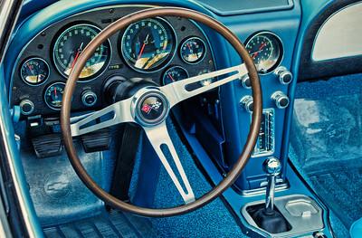 The cockpit of a 1967 Corvette.