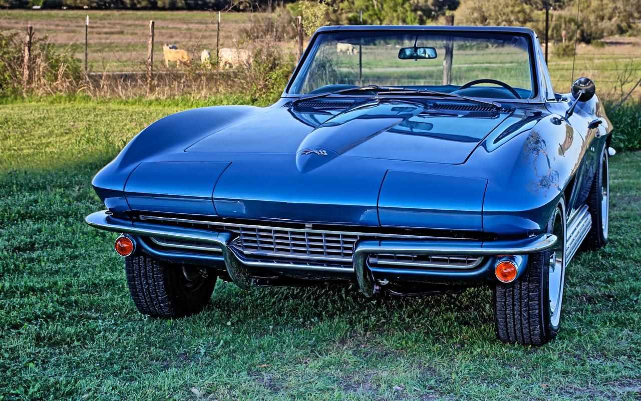 Blue 1967 Corvette Sting Ray convertible.