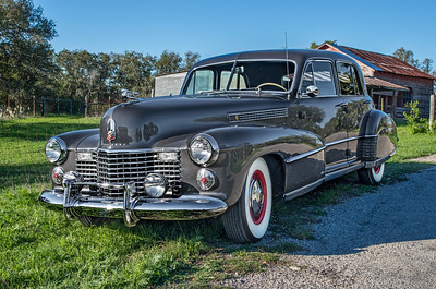 1941 Cadillac on a Texas hill country road.