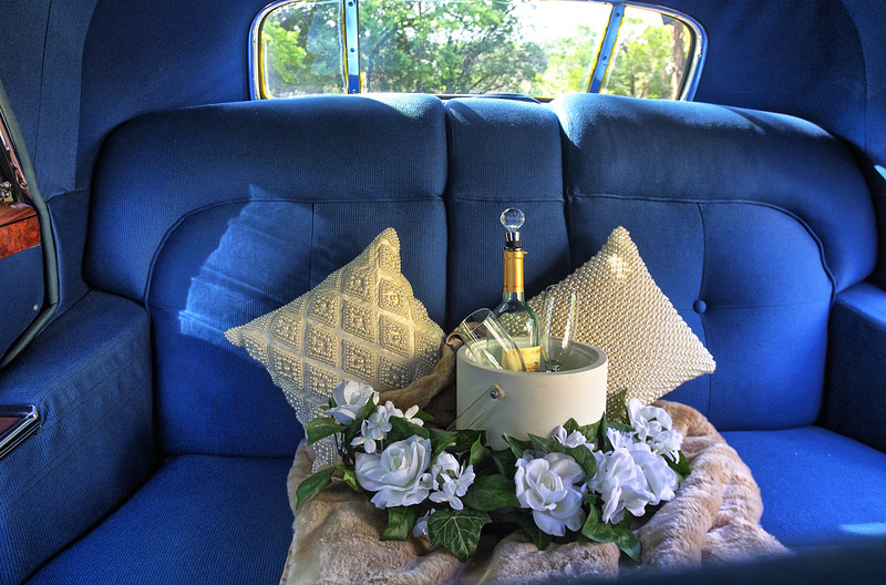 Plush and comfortable in the back seat of 1941 Cadillac.