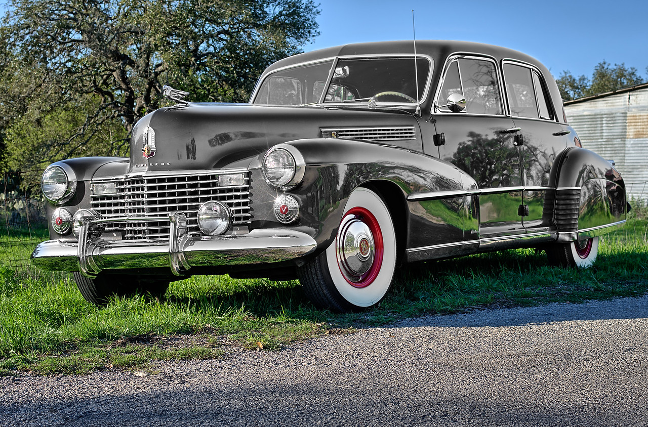 1941 Cadillac on a Texas country road.