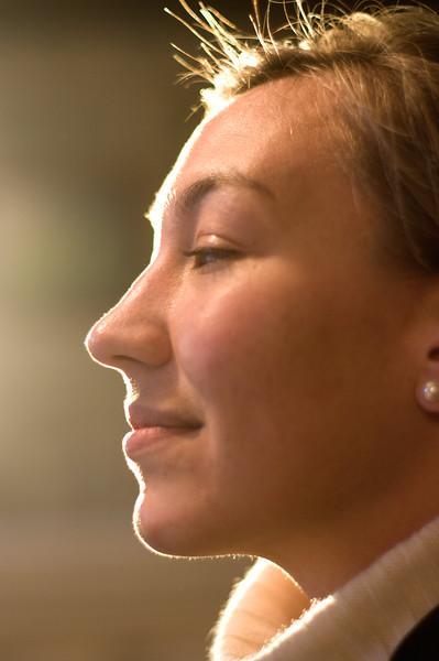 Erika in profile.
