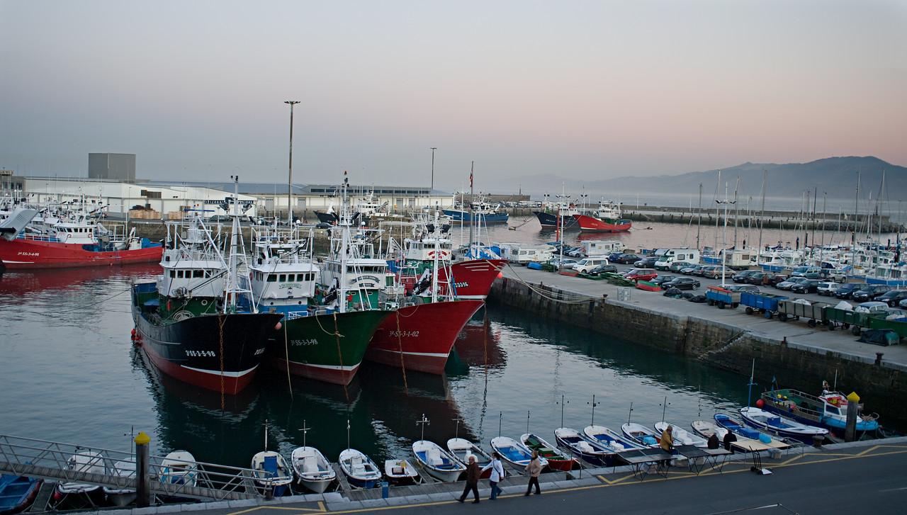 The harbor of Getaria at sundown.