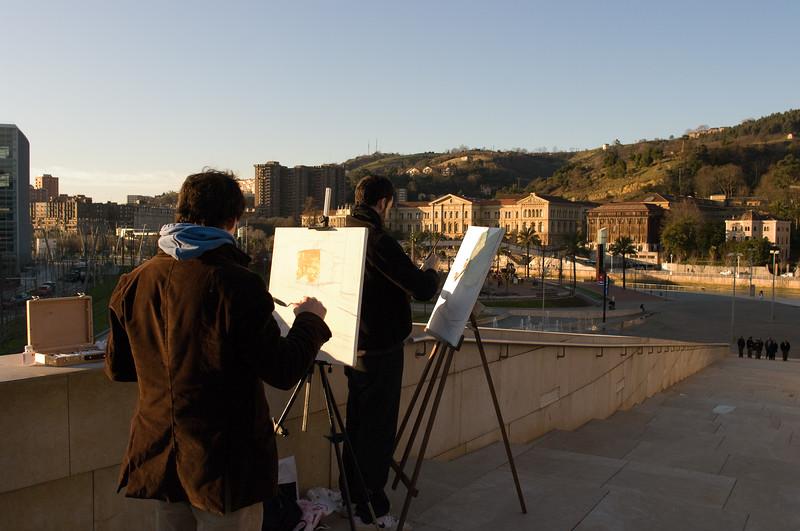 Art Students in Bilbao, Spain. (Pentax D20D with DA 21mm lens.)
