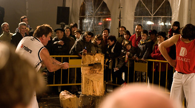 Wood chopping competition at Basque festival in Getaria.