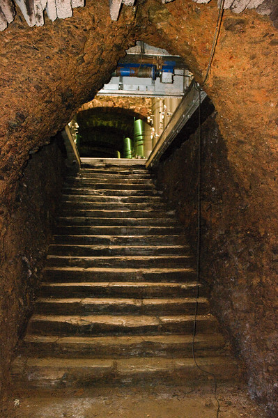 Steps leading from the Roman cellar in the winery A Coroa in Valdeorras.