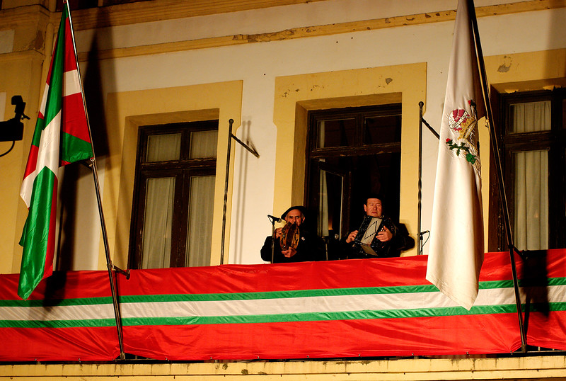 Musicians play on balcony for the Basque festival in Getaria.