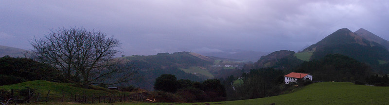 A Basque country side in panorama. Unfortunately, last nights 3200 ISO was still in effect.