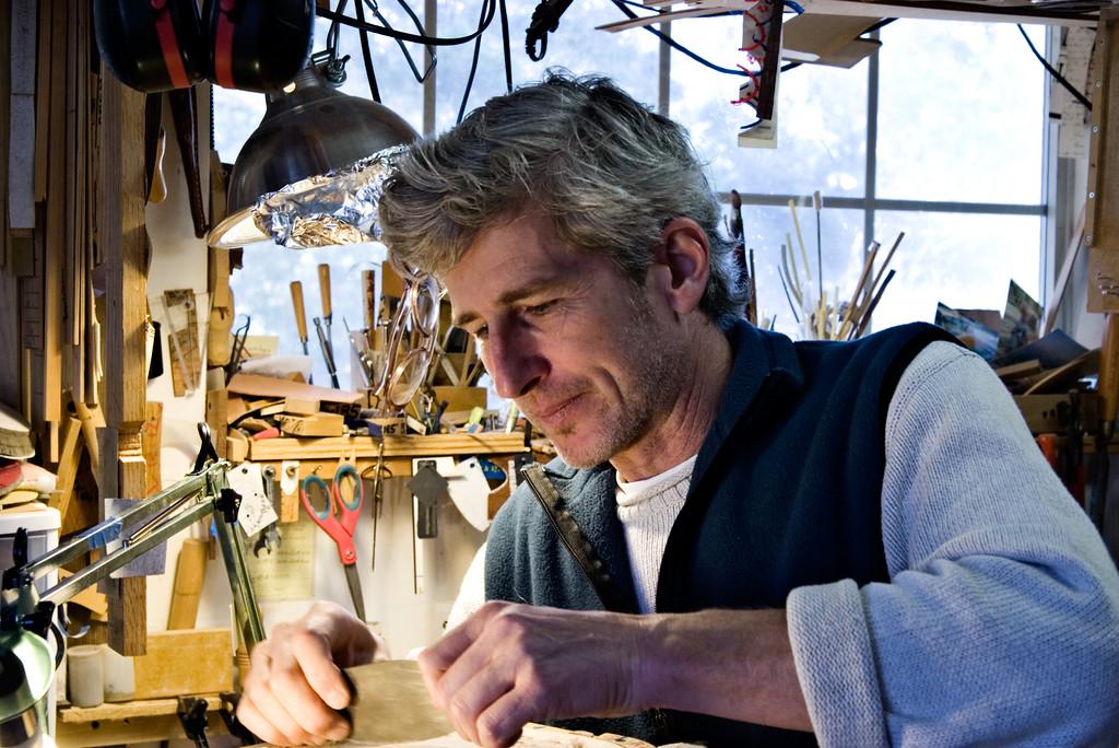 Stefan Passernig makes mandolins by hand in Austin, Texas.