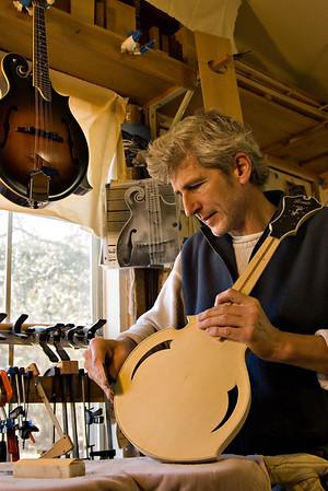 Stefan Passernig makes mandolins by hand in Austin, Texas. Pentax K100D with Tamron 28 - 75mm lens.