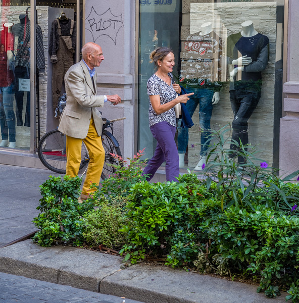 Yellow pants look stylish in Milan.