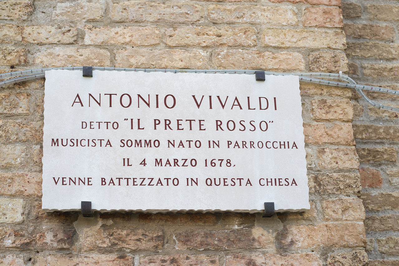 """Antonio Vivaldi: """"The Red Priest,"""" was born in this parrish, and baptized in this church on March 4th, 1678."""