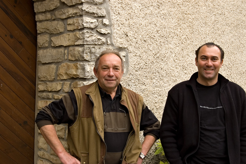 Michel Colin of Domaine Colin-Deleger, with son Bruno Colin of Domaine Bruno Colin, Chassagne-Montrachet.