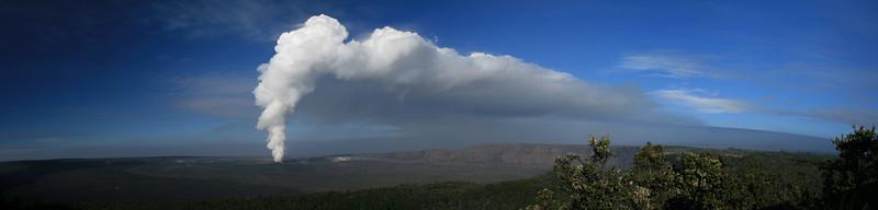 Volcano House vista, Hawaii Volcanoes National Park. Vent at Halemaumau Crater.