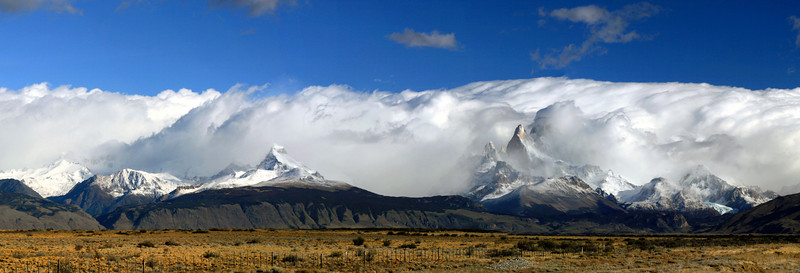 Mount Fitz Roy area in Los Glaciares National Park, Argentina (Fitz Roy is behind the clouds). 2009.