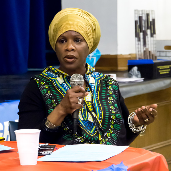 Trade union activist and leader, Christine Lewis, Secretary of the Domestic Workers United, called for maximum unity in defending the most vulnerable people in society: the lowest paid workers and immigrants and refugees.