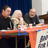 Hartung (l) and Abrhamian (r) were the morning session's two speakers. The Teach-In was moderated by Brooklyn For Peace Vice-Chair, Carolyn Eisenberg.