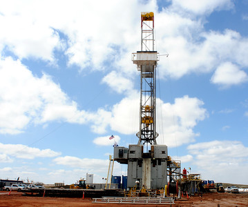 A Whiting Petroleum Corp. drilling rig southwest of Belfield, N.D. is seen April 22, 2013.